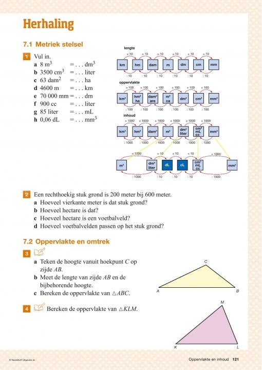 3tl h7 oppervlakte en inhoud en h8 getallen - Lesmateriaal